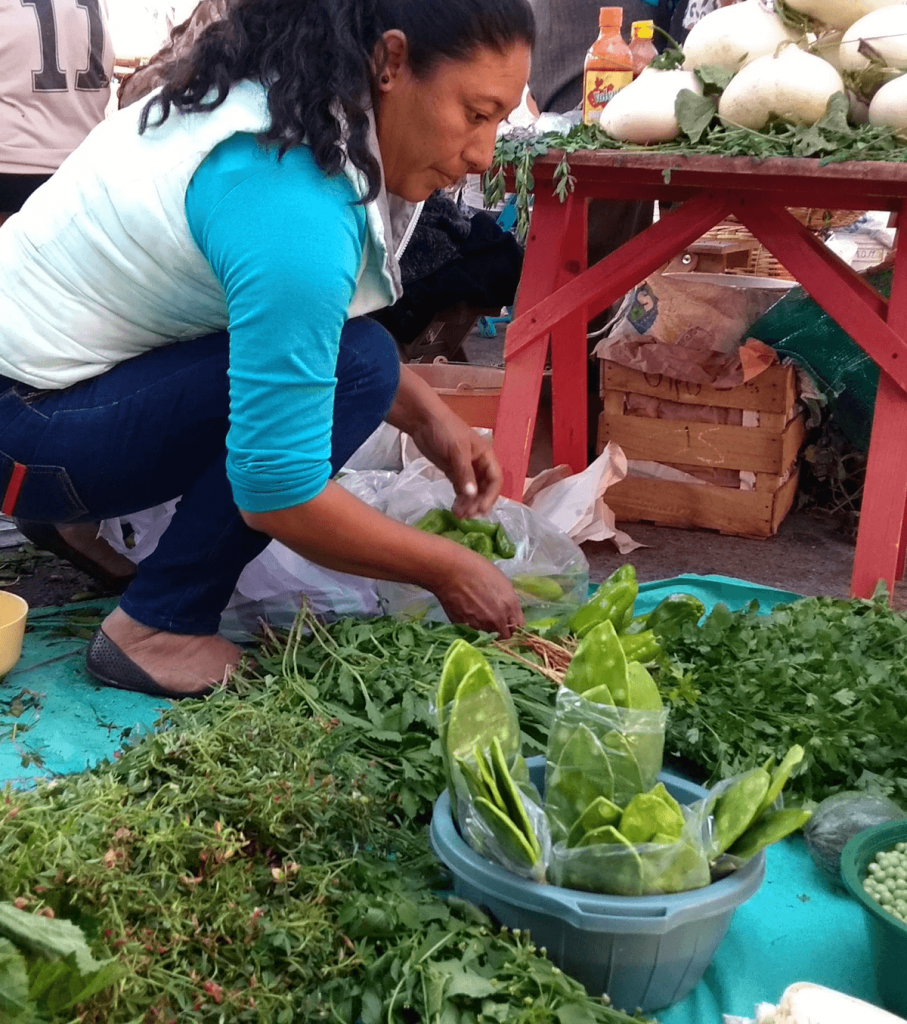 mexican woman with green vegetables for sale